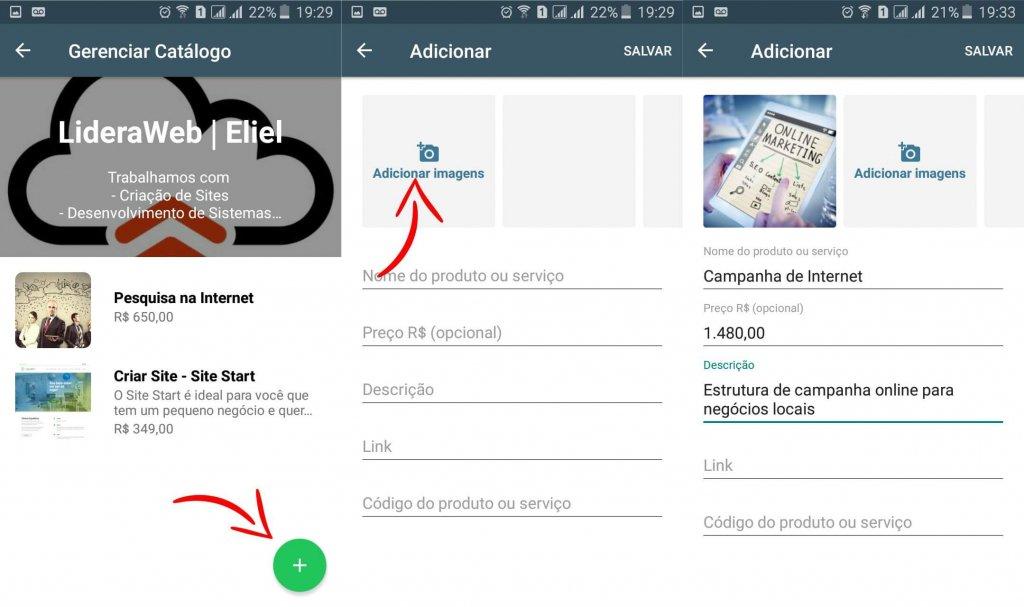 Telas de adição de itens ao Catálogo do WhatsApp