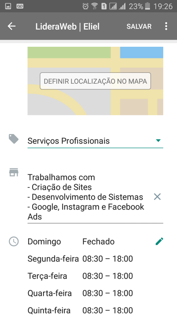Perfil WhatsApp Business