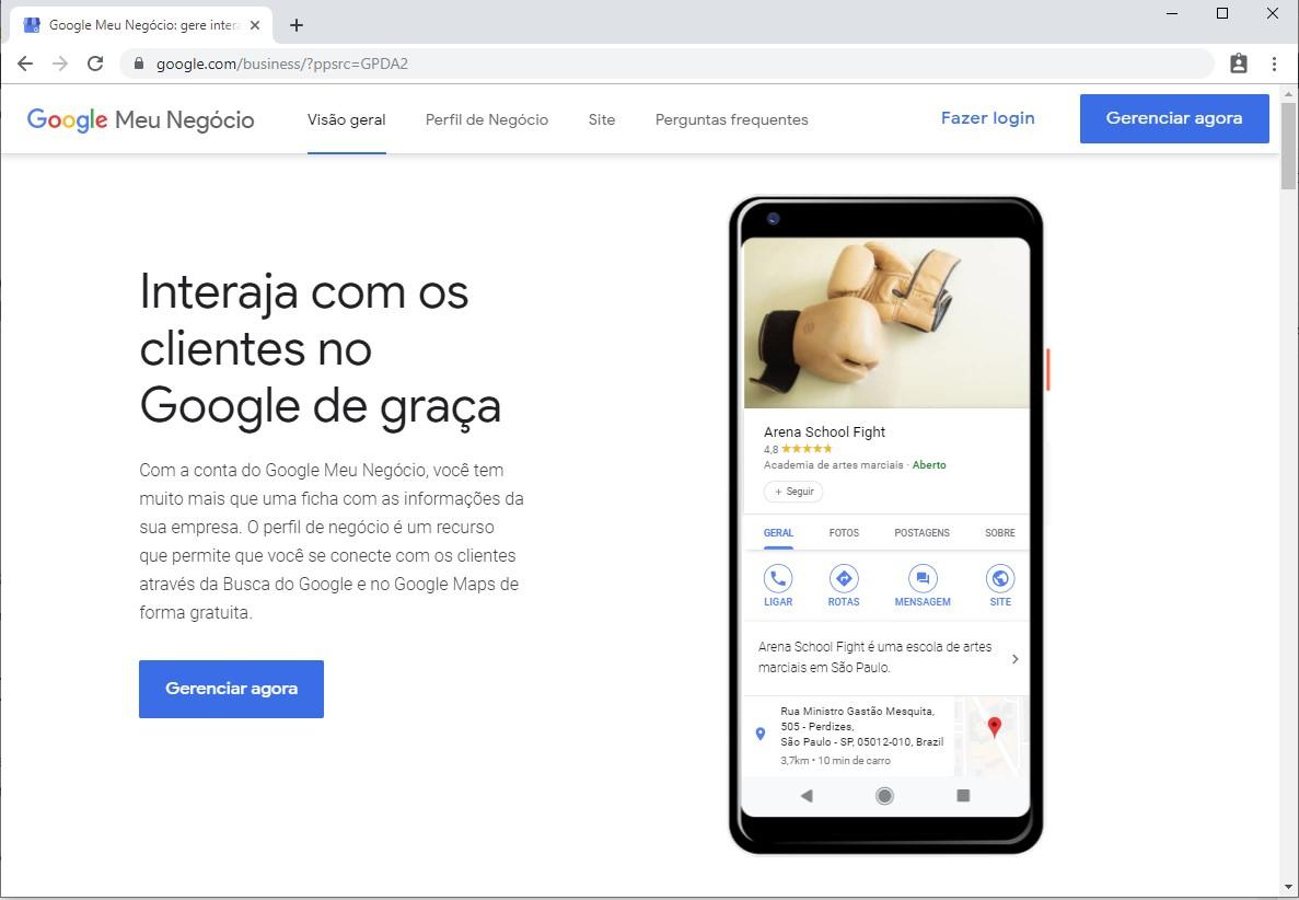 Site do Google Meu Negócio